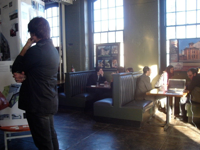 Cafe in the Crane Bldg, an old factory re-purposed as art studios and galleries