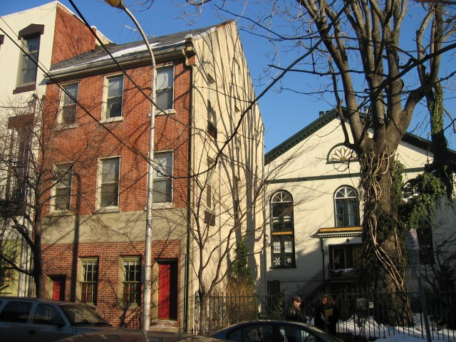 My Queen Village house in Philadelphia (red brick on the left), bought for 400K in 2005, was built in 1810 as a parsonage for the church next door (white building with pediment), now co-ops.