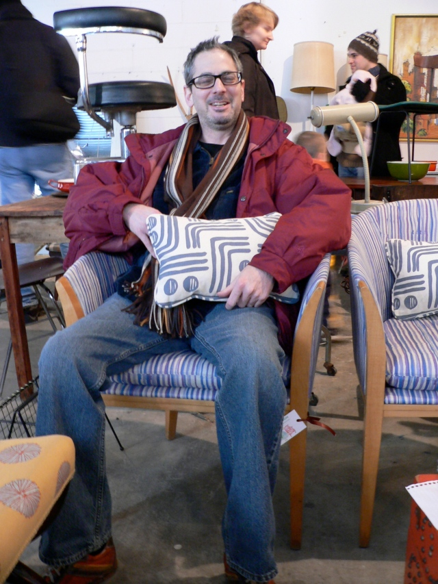 """Chairs and pillow by Chairloom (""""reuse and reinvent"""") of Wayne, PA"""