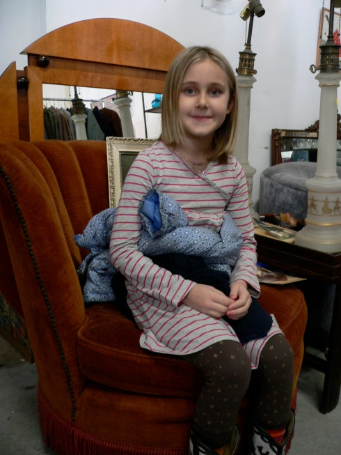 Lovely young lady in velvet boudoir chair ($200) from Jaybird of Bellport, L.I.