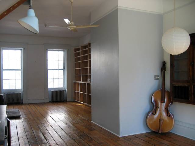 Parlor floor in my 1830s row house in Boerum Hill, detail-less but loft-like