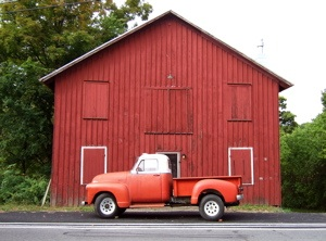 truck and barn