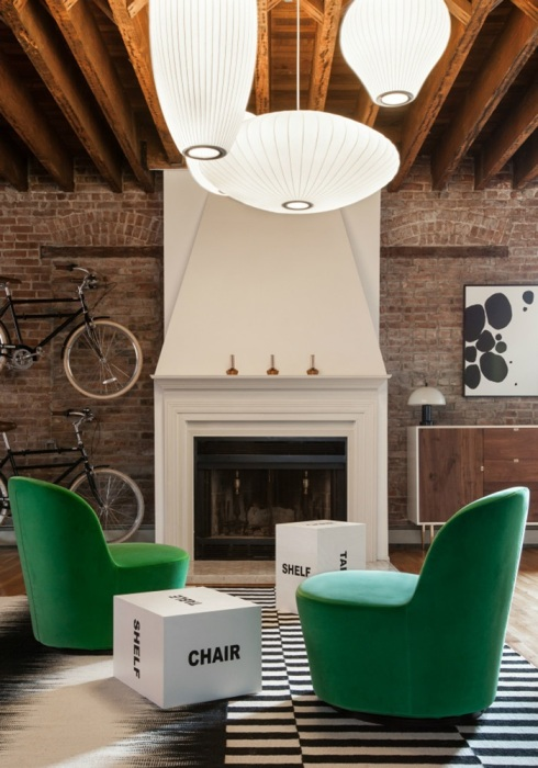 Jersey-City-Loft-Green-Ikea-Chairs-Graphic-Stools-Rugs
